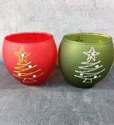 SET2 RED/GREEN VOTIVES WITH XMAS TREE DESIGN