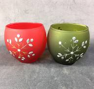 SET2 RED/GREEN VOTIVES WITH SNOWFLAKE DESIGN