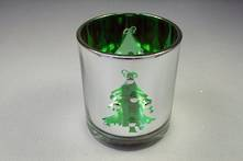 GREEN/SILVER VOTIVE WITH XMAS TREE PATTERN