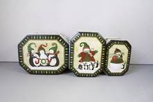SET3 PENGUIN AND SNOWMAN DESIGN TINS