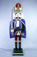 BLUE CAPED WOODEN NUTCRACKER WITH SWORD