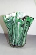 SMALL GREEN MARBLE LOOK GLASS VASE