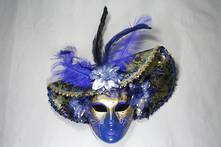 BLUE/GOLD HATTED AND FEATHER VENETIAN MASK