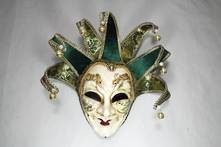LARGE VENETIAN MAN MASK WITH GREEN POINTS