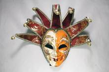 LARGE VENETIAN MAN MASK WITH RED/GOLD POINTS