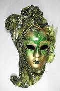 GREEN / GOLD WITH FABRIC VENETIAN MASK