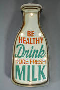 DRINK MILK LIT METAL SIGN