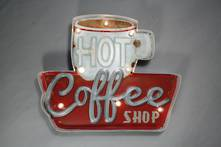 HOT COFFEE LIT METAL SIGN