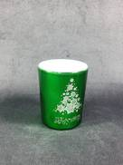METALLIC GREEN TEALIGHT HOLDER WITH MERRY CHRISTMAS TREE