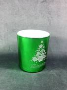 METALLIC GREEN VOTIVE HOLDER WITH MERRY CHRISTMAS TREE DESIG