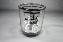 CLEAR VOTIVE HOLDER WITH SILVER FOREST SCENE