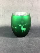 DARK GREEN VOTIVE HOLDER WITH TREE AND DEER DESIGN