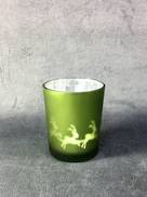 GREEN TEALIGHT HOLDER WITH SLEIGH DESIGN