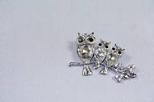DOZ SILVER DIAMANTE OWLS ON BRANCH HANGERS