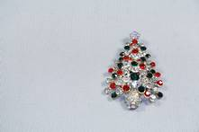 DOZ, RED/ GREEN/ DIAMANTE XMAS TREE HANGER