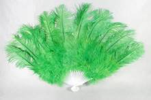 LARGE GREEN FEATHER FAN