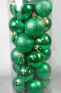 8CMD TUBE 24 GREEN PLASTIC HANGING BALLS