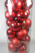 6CMD TUBE 24 BURGUNDY PLASTIC HANGING BALLS