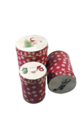 SET3 ROUND TINS WITH RED SNOWFLAKE DESIGN