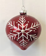 RED GLASS BALL WITH WHITE SNOWFLAKE