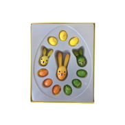 ORANGE, GREEN, YELLOW WOOD EGGS & RABBITS BOXED SET